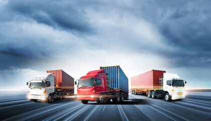 Truck transport with red container on highway road at sunset, motion blur effect, logistics import export background and cargo transport industry concept