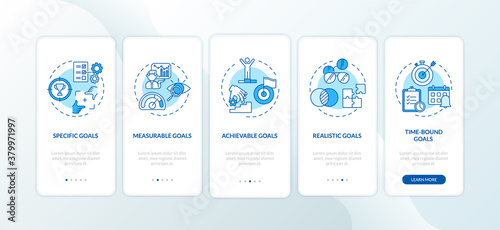 Fototapeta Smart goals definition onboarding mobile app page screen with concepts