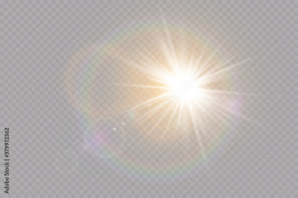 Fototapeta   Vector transparent sunlight special lens flare light effect. Explosion sun.Glow light effect. Vector illustration.