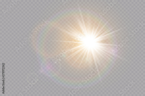 Vector transparent sunlight special lens flare light effect. Explosion sun.Glow light effect. Vector illustration.
