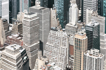 Panel Szklany Podświetlane Architektura Aerial view of Manhattan diverse architecture, color toning applied, New York City, USA.