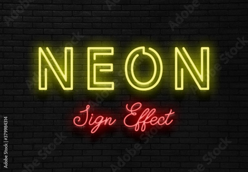 Realistic Neon Sign Text Effect Mockup