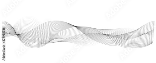 Fototapeta abstract vector wave lines on white background obraz