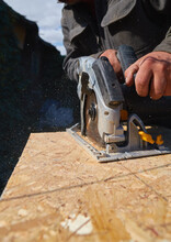 Close Up Electric Saw To Sawin...