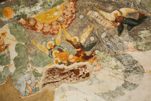 Aged Wall-painting With Saints And Angels