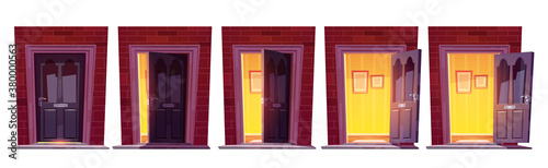 Opening wooden front door in brick wall isolated on white background Wallpaper Mural