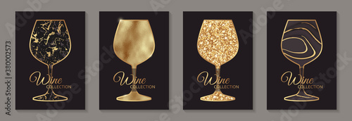 Valokuvatapetti Modern abstract luxury card templates for wine tasting invitation or bar and restaurant menu or banner or logo with golden glasses in marble and glitter texture on a black background