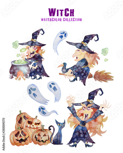 Leinwand Poster Witch 3 actions Halloween collection watercolor painting