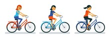 Girl On Bike. Woman Cyclist On Bicycle Cartoon Style, Different Designs. Vector Illustration.