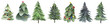 Christmas trees and snowflake set of holidays hand drawn paint winter season. set design holiday