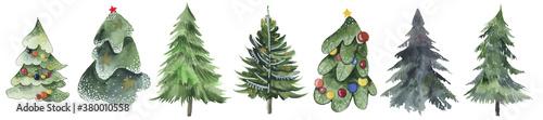 Valokuvatapetti Christmas trees and snowflake set of holidays hand drawn paint winter season