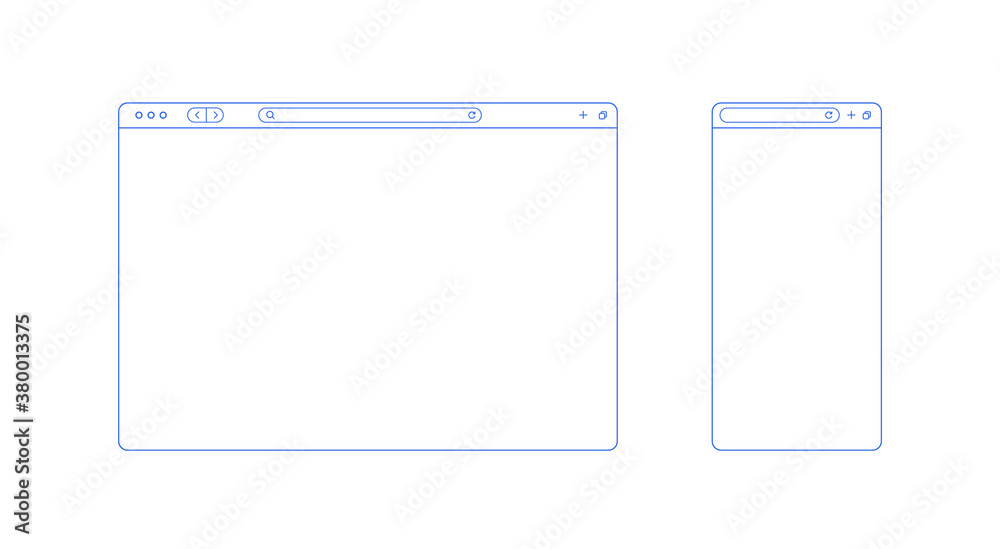 Fototapeta Browser template outline with blank place for website and mobile app. Internet page concept for desktop and smartphone. Minimalistic browser ui window in line style. Abstract vector mockup.