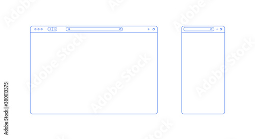 Fototapeta Browser template outline with blank place for website and mobile app. Internet page concept for desktop and smartphone. Minimalistic browser ui window in line style. Abstract vector mockup. obraz