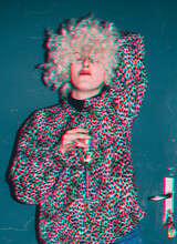 Woman Looking Provocatively At The Camera. Anaglyph Effect.