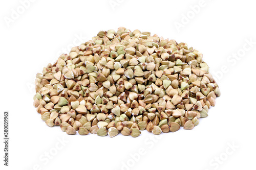 Fototapeta Green buckwheat isolated on a white background. Heap of raw green buckwheat. Healthy food. Vegan food obraz
