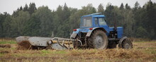 Old Soviet Wheeled Blue Tractor With Potato Harvesting Attachments In The Field Close Up, Potatoes Harvesting On An Autumn Day On Forest Background, Countryside Agriculture Farming