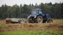 Old Belarus Blue Tractor With ...