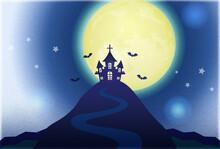 幻想的なハロウィン・ポスター・洋館・満月・蝙蝠