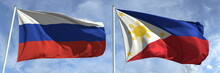 Flying Flags Of Russia And Philippines On Sky Background, 3d Rendering