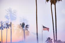 American Flag On California Beach Through Prism