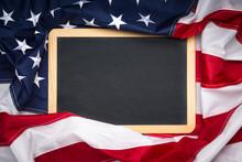 Blank Blackboard Over American...
