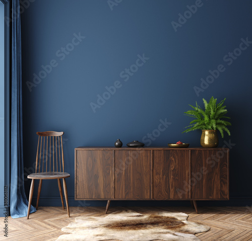 Fototapeta Commode with chair and decor in living room interior, dark blue wall mock up background, 3D render obraz