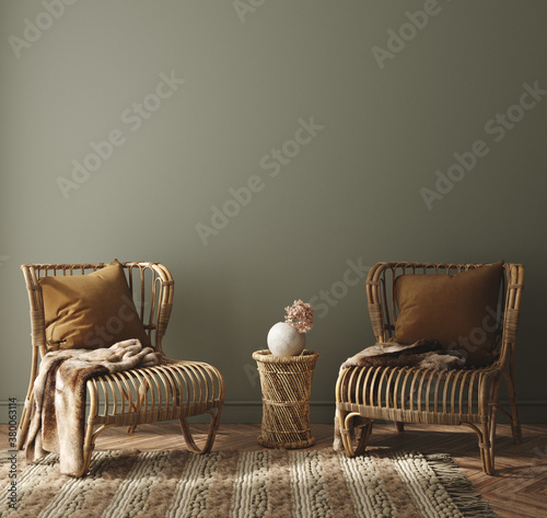 Fototapeta Modern home interior with rattan furniture and dry plant in vase, 3d render obraz
