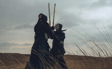 Japanese Kendo Fighters On Wastelands.