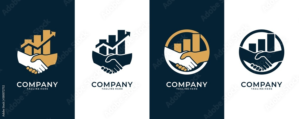 Fototapeta shaking hands and level logo design, good use for financial and business consulting logo
