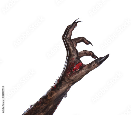 Canvas Print Scary monster on white background, closeup of hand