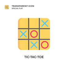 Tic-tac-toe Vector Icon. Flat Style Illustration. EPS 10 Vector.