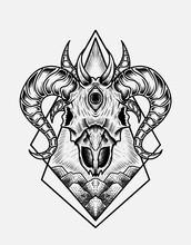 Illustration Vector Goat Skull Good Print For T-shirt