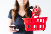 Woman Holding Shopping Basket ...