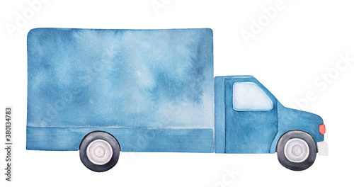 Watercolor drawing of navy blue delivery truck with black wheels and large blank body Fototapet