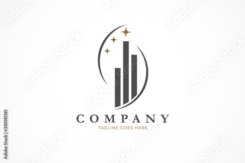Cuadros en Lienzo Building logo, buidling and star combination, Flat Logo Design Template, vector
