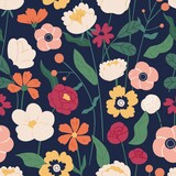 Colorful blooming flowers seamless pattern. Elegant botanical wallpaper template vector flat illustration. Romantic decorative blossom. Herbal plants with leaves and stem design textile print