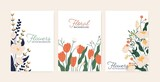 Set of greeting card with elegant flowers vector flat illustration. Collection of beautiful vertical postcard decorated with peony and tulips isolated. Festive blooming template with place for text