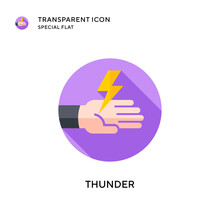 Thunder Vector Icon. Flat Style Illustration. EPS 10 Vector.
