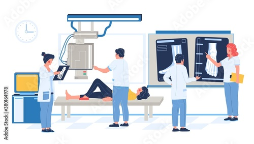 Fototapeta Fluoroscopy exam in hospital, clinic, flat vector illustration. Patient woman lying on medical table, xray machine taking image of broken leg, doctors looking at xray pictures. Bone fracture, injury. obraz