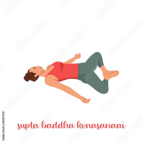 Fototapeta Sporty girl on white background resting in Reclining Bound Angle yoga Pose, Supta Baddha Konasana, restorative, relaxing asana, using bolster obraz