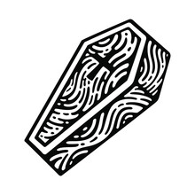 Coffin In Doodle Style In Isol...