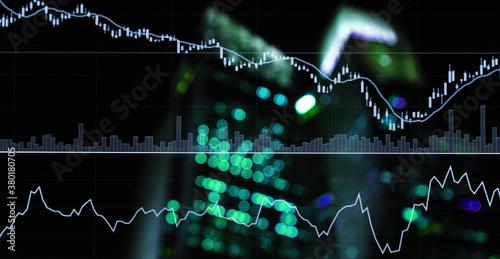 green blue stock trading graph line market on light city market business backgro Billede på lærred