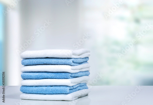 Obraz na plátně Stack of towels on table,household and laundry.