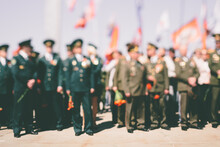 Officers And Veterans Stand On At Victory Day Celebrations