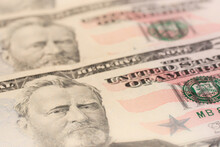 Portrait Of Ulysses S. Grant On The One Fifty Dollar Bill. Selective Focus.
