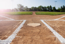 Baseball: Low View Of Home Plate And Field