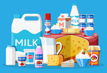 Dairy Products Set. Collection Of Milk Food. Milk, Cheese, Yogurt, Butter, Sour Cream, Cottage, Cream And Curd. Traditional Farm Products Isolated On Blue. Vector Illustration In Flat Style