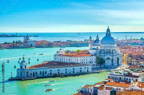 Stampa su Tela Aerial view of Venice historical city centre, Santa Maria della Salute Catholic church on Punta della Dogana between Grand Canal and Giudecca Canal, Veneto Region, Northern Italy