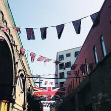 Union Jack Flags In A Street In London