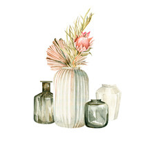 Watercolor Boho Set- Hand Painted Glass Vase With Bouquet Of Tropical Palm Leaves, Flowers, Dried Grass. Illustration Perfect For Fabric Textile, Prints, Home Interior, Design, Cards